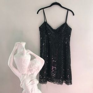Express Black Sequin Mini Dress